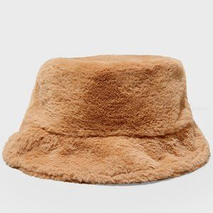 90's Throwback Brown Soft Faux Fur Bucket Hat